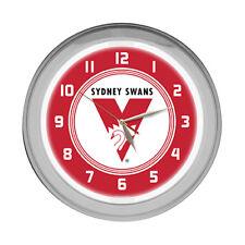 Licensed AFL Sydney Swans Aussie Rules Glass NEON Light up Clock Bar Man Cave