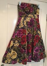 Ladies bold floral midi dress Size 8 vintage wedding 1950s prom rockabilly retro