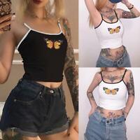 Women Summer Tank Stylish Butterfly Print Sleeveless Suspenders Best Vest E0G1