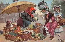 ARTIST THIELE IMAGE, 3 DRESSED CATS, ONE SHOPS AT VEGETABLE STALL, used 1932