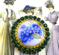 Vintage Style Czech ALL Glass Rhinestone Pin Brooch #T181 - SIGNED