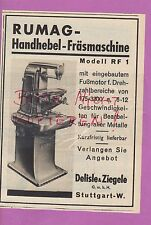 STUTTGART, Werbung 1936, Delisle & Ziegele GmbH RUMAG Handhebel-Fräsmaschine