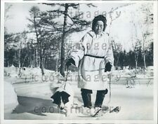1959 Winter Snow Scene Woman Walks Dog Kamchatka USSR Northern Asia Press Photo