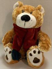 "Dan Dee Collector's Choice Plush Golden Tan Teddy Bear 14"" Tall Red Scarf Soft"