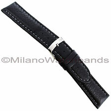 20mm Morellato Forest Padded Genuine Leather Black Grey Stitched Watch Band 2987