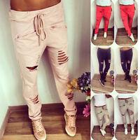 Mode Damen Ripped Loch Hosen Stretch Baggy Pencil Leggings Hosen Hose Gr.34-40