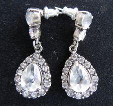Teardrop Drop Earrings Pierced Ears Euc Lc Liz Claiborne Pewter Tone Rhinestone