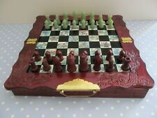 VINTAGE EIGHT FAIRIES CHESS SET SOAPSTONE MEN AND WOODEN BOARD COMPLETE