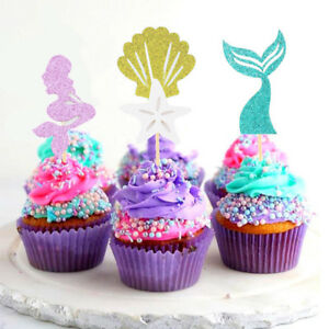 24pcs Mermaid Theme Glitter Cupcake Toppers Cake Picks for Baby Shower CF