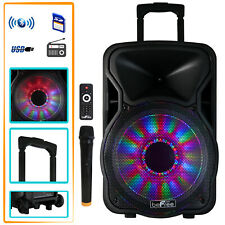 "BEFREE SOUND 12"" BLUETOOTH PORTABLE PARTY PA DJ SPEAKER w/t LIGHTS MIC & REMOTE"
