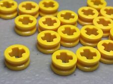 LEGO LOT of 20 Yellow TECHNIC Bush 1/2 Smooth Round Parts - NEW 4265C