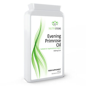 Evening Primrose Oil 1000mg GLA Vegetarian Vegan & Vtamin E 90 Capsules