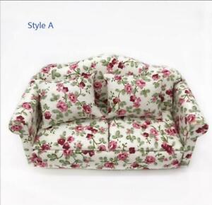 Vintage Double Sofa Armchair Couch 1:12 Dollhouse Miniature Furniture Decor Home