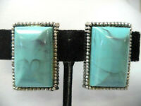 Vintage silver tone marbled turquoise blue cab rectangular clip earrings 1 1/8""