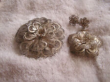 Lot of Mexico Mesh Silver Pins and Earrings