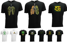 Weed T-shirt Ganja 420 THC Hand Rap Style Mens Designer Fashion Short Sleeve
