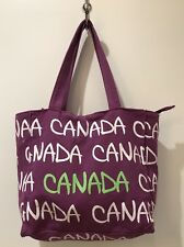 Robin Ruth Canada Purple White And Green Small Medium Tote Bag