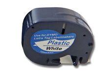 Cassette de cinta (12mm x 4m) N/B plastico para Dymo LetraTag, S0721610, 91201