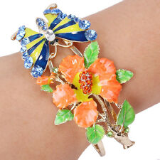 Flower Butterfly Bangle Cuff Multicolor Austrian Crystal Gold Tone Women Gift
