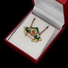 Antique Vintage Nouveau 14k Gold Filled GF Jugendstil Enamel Pendant Necklace