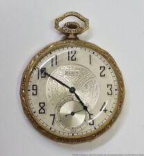 Cool Art Deco Dial 1927 Elgin 17j 12s Mens Running Pocket Watch Grade 345