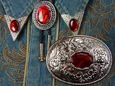 New Red Mérou Bolo Bootlace Tie Belt Buckle and Collar Tips Set Western Goth