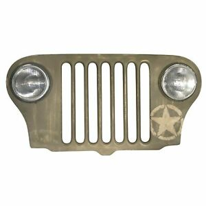 Jeep Grille Lighted Wall Art Willys Headlights - WWII Army Green
