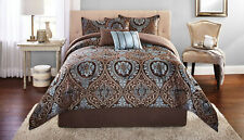 Bedding Comforter Sets King Size Victoria Jacquard 7-Piece Blue Brown Polyester