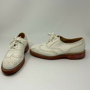 Ralph Lauren Men's Bench Made Collectible Suede Brogue Lace Up Shoes White