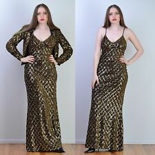VTG 70s Gold SEQUIN ENCRUSTED + LUREX Trophy Disco MAXI Party DRESS + Jacket S