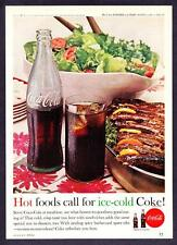 "1962 Coca-Cola Bottle Salad Spare Ribs photo ""Hot Foods & Cold Coke"" print ad"