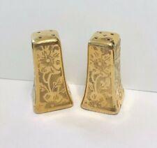 Vintage Stouffers Gold Floral Embossed Floral Salt & Pepper Shakers Set