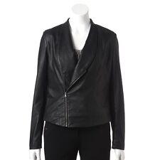 Womens $90 Jennifer Lopez Faux Leather Motorcycle Moto Ladies Jacket  2X ~BLACK