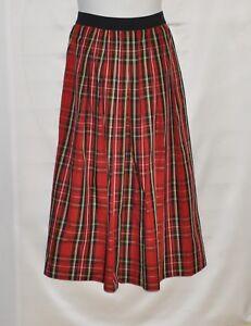 Joan Rivers Petite Length Holiday Plaid Maxi Skirt Size SP Red Tartan