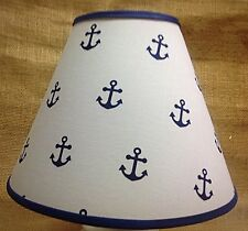 Blue Anchors on White Handmade Lampshade Nautical Lamp Shade