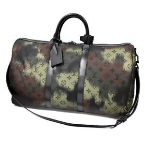 Louis Vuitton Keepall 50 Travel Bag Camouflage Nylon M56416 Hand Shoulder New LV