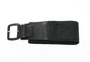 Calvin Klein Black Leather and Knit Belt Size Small