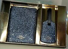NEW COACH BOXED TRAVEL SET PASSPORT LUGGAGE TAG GLITTER STAR MIDNIGHT BLUE $175