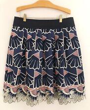 LAUREN MOFFATT Women Daisy Quarters Skirt Sz 10 Blue Embroider Silk Lined EUC