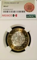 1992 MEXICO 10 PESOS SILVER CORE BI METALLIC NGC MS 67 HIGHEST GRADED TOP POP