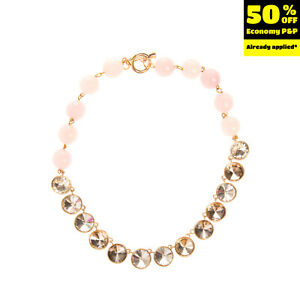 Collar Necklace Faceted Beads Rhinestone Embellished Toggle Clasp Closure