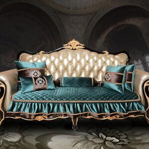 Europe Luxury Soft Velvet Sofa Couch Cover 2/3/4 Seater Solid Nonslip Slipcover