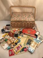 Vtg Dritz Mid-Century 50's Sewing basket handle storage Organizer + Many Extras!