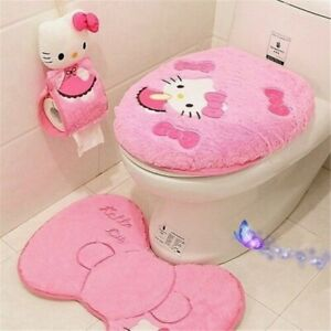 4Pcs/3Pcs Hello Kitty Toilet Seat Cover Cartoon Bathroom Lid Mat Set Pink Rose