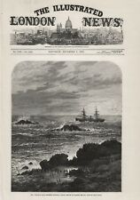 1876 PRINT MAIL STEAMER WINDSOR CASTLE AT DASSEN ISLAND CAPE OF GOOD HOPE b24