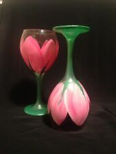 Set of 4 Wine Glass Pink Flower 13 OZ Hand Painted Dishwasher Safe In Top Rack