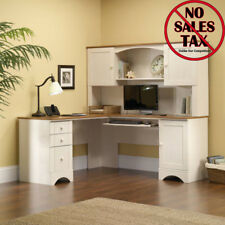 Sauder Harbor Office Furniture View Desk Hutch Antiqued White with Storage Shelf