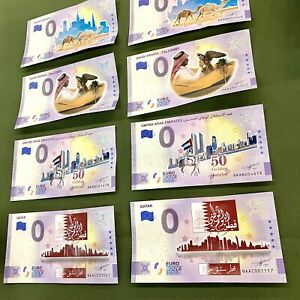 Euro Souvenir Qatar Saudi Arabia United Arab Emirates Colour Banknotes