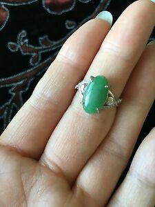 Elegant Genuine Green 3.8ct Jadeite Jade(Type A) 925 Silver Ring SIZE Adjustable