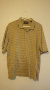 Donald J. Trump signature collection brown striped polo shirt Men's L Large